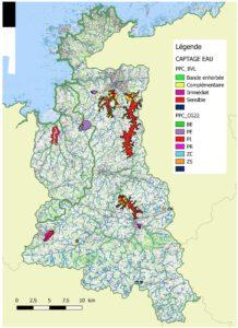 carte du Tregor presentant les points de captation de l'eau et leurs perimetres de securite