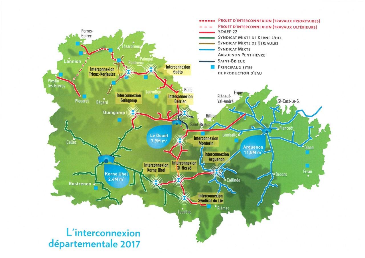 La carte du réseau d'interconnexion départementale des Côtes-d'Armor en 2017 @SDAEP22